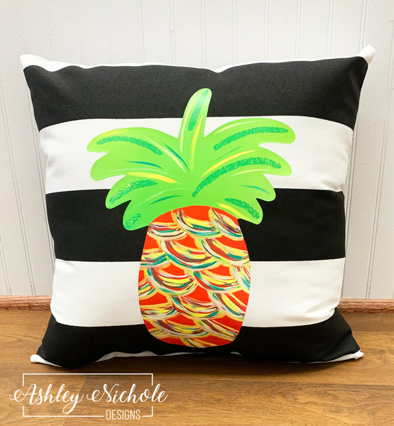 "18"" Custom-Pineapple - Traditional (RED) Colors Abstract on Stripe Fabric"