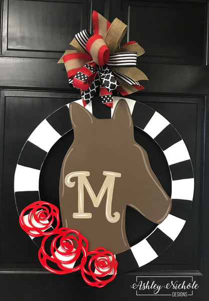 Horse and Roses Door Hanger
