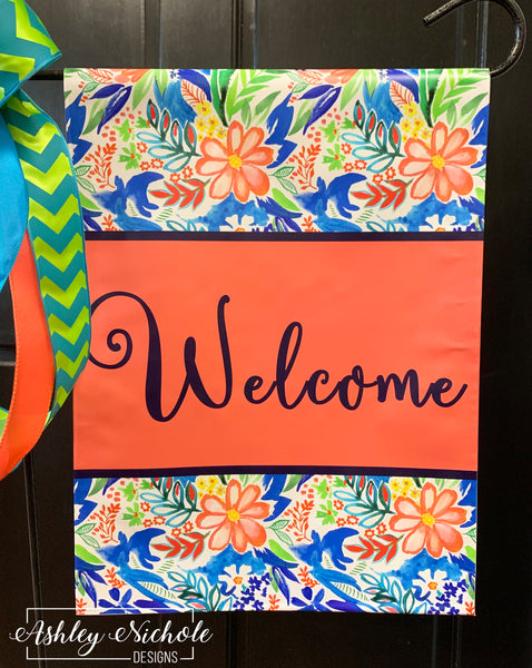 Coral Floral (ROYAL BLUE) WELCOME Garden Vinyl Flag