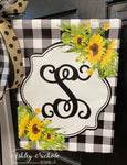 Sunflower & Buffalo Check Vinyl Garden flag