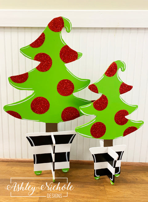 Christmas Tree - Black and White Stripe Pot & Glitter Dot - STANDING Table Top Version