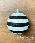 Ornament Ball - Black and White Striped