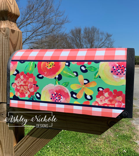 Coral Floral (NAVY Generic) Vinyl Mailbox Cover