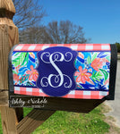 Coral Floral ROYAL BLUE (Initial) Vinyl Mailbox Cover