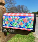 Coral Floral (ROYAL BLUE Generic) Vinyl Mailbox Cover