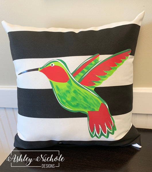 "18"" Custom-Hummingbird Pillow on Black & White Stripe Fabric"