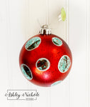 Ornament - Red, Aqua and Silver Ball 4.75""