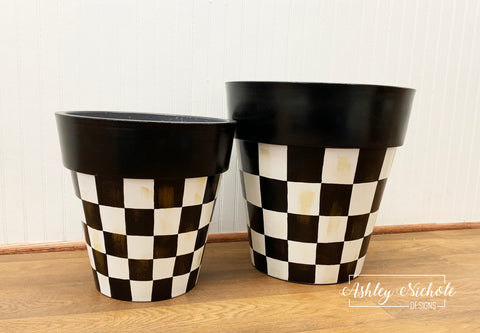 "12"" & 15"" Checkered Garden Planter - Round - Plastic"