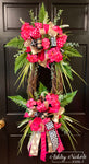Geranium Floral and Grass OVAL Wreath - PINK - 24""