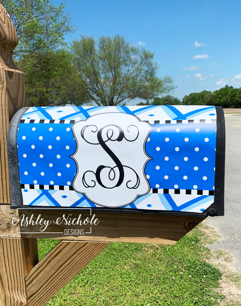 Chinoiserie Vinyl Mailbox Cover (Blue & White)