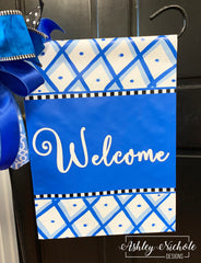 Chinoiserie Vinyl Garden Flag - Welcome - Blue & White