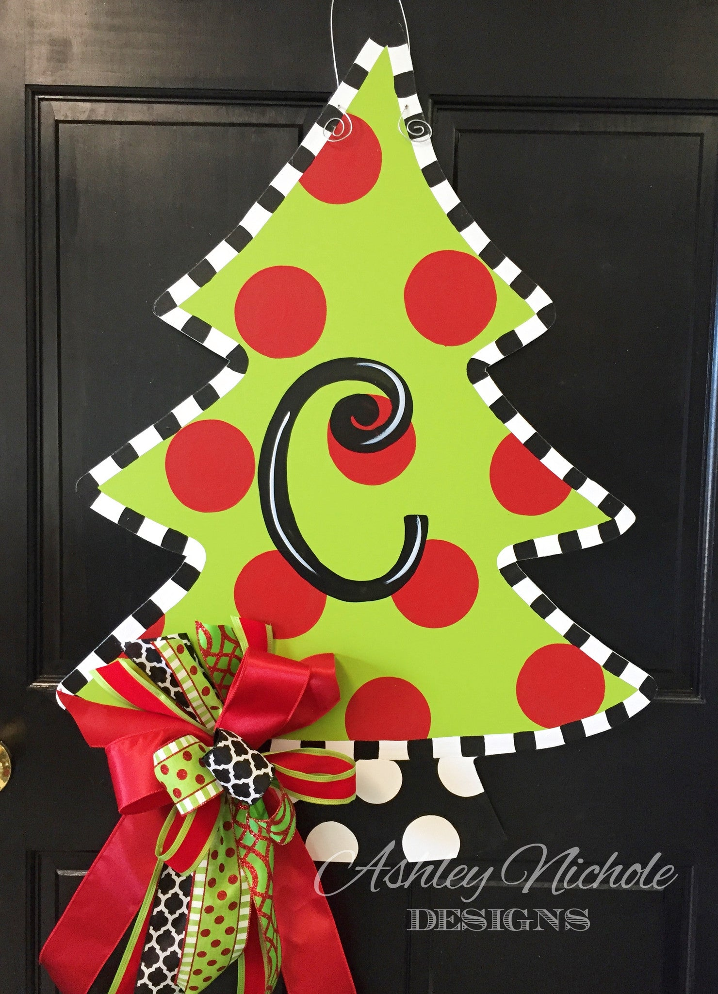 christmas tree polka dot door hanger
