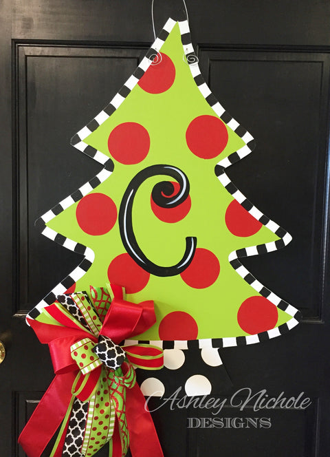 Christmas Tree - Polka Dot - Door Hanger
