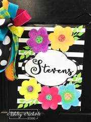 Blossoms Family Last Name Garden Vinyl Flag