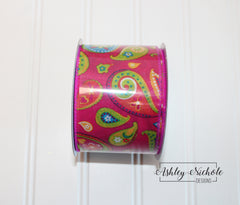 20 yards - Paisley Fuchsia - Wired Edge