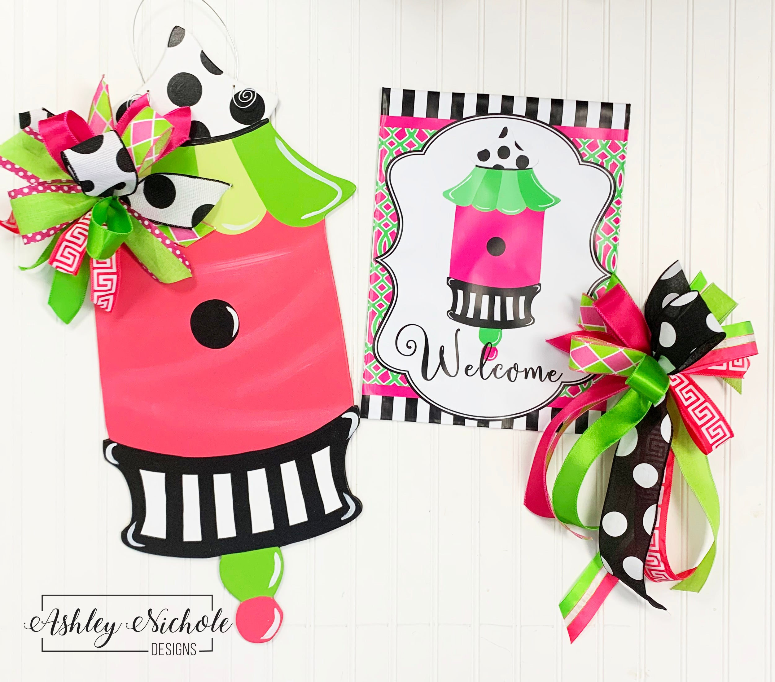GIFT BOX Combo!! Pagoda Bird House Door Hanger, Vinyl Garden Flag and – AshleyNichole Designs