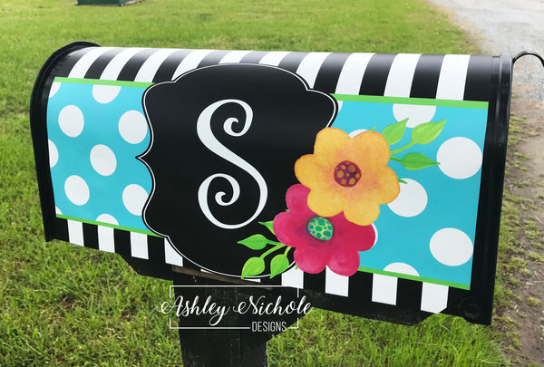 Blossoms Flower Initial Magnetic Mailbox Cover