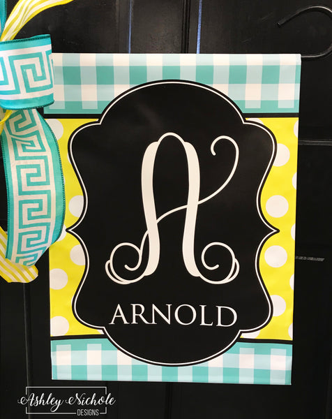 Buffalo Check and Polka Dot (BLUE & YELLOW) Initial Garden Vinyl Flag