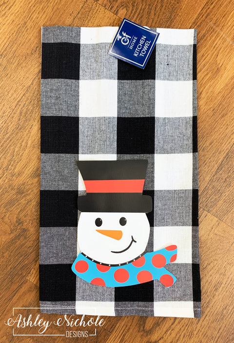 Snowman Black and White Check Dish Towel