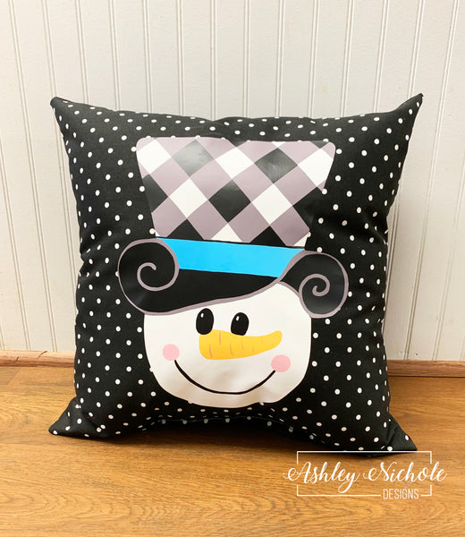 "18"" Custom - Snowman Buffalo Check Hat - Pillow"