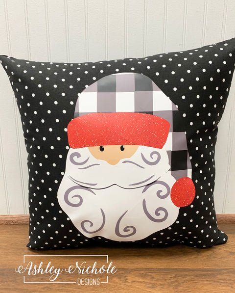 "18"" Custom-Buffalo Check Hat Santa Claus Pillow-Black and White Dot"