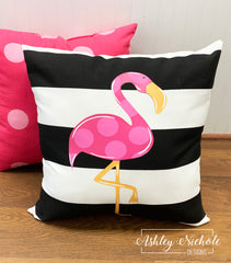 "18"" Custom-Flamingo Vinyl Design on Striped Outdoor Fabric"