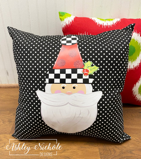 "18"" Custom- Santa Claus Pillow - Checkered with Red Glitter Dots Hat -Black and White Dot"