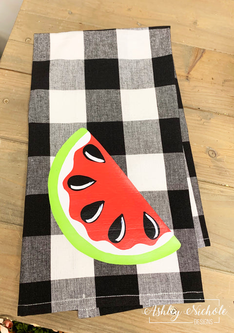 Watermelon-Buffalo Check Dish Towels