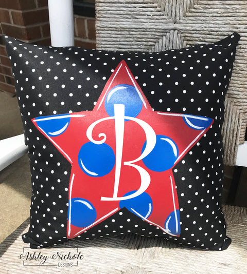 "18"" Custom-Polka Dot Star Pillow"