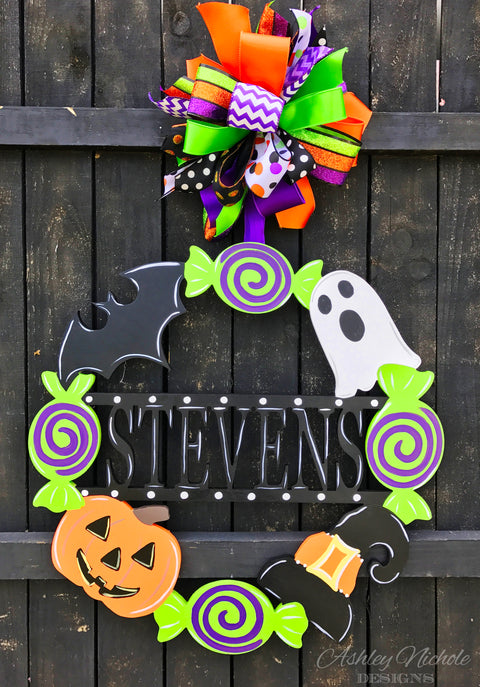 Halloween Name Monogram Door Hanger