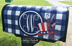 Buffalo Check Patriotic Initial Mailbox Cover