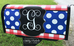 Buffalo Check Initial (Red/Royal) Patriotic Mailbox Cover