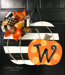 Double Pumpkin - Black Stripe & Orange - Door Hanger