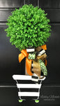 Fall Topiary - Single Ball  Striped - Door Hanger