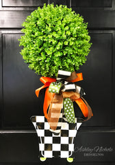 Fall Topiary Checkered - Door Hanger