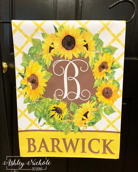 Initial - Last Name Sunflower - Vinyl Garden flag