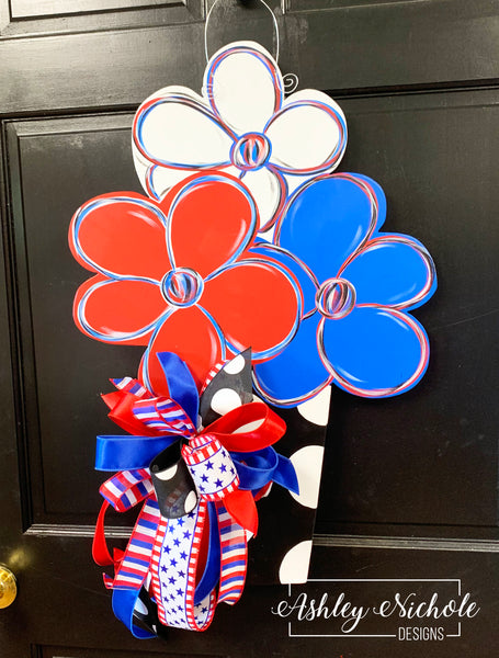 Flower Pot Patriotic Door Hanger