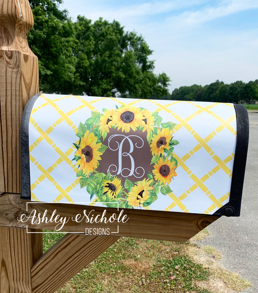 Initial - Sunflower -  Vinyl Mailbox Cover