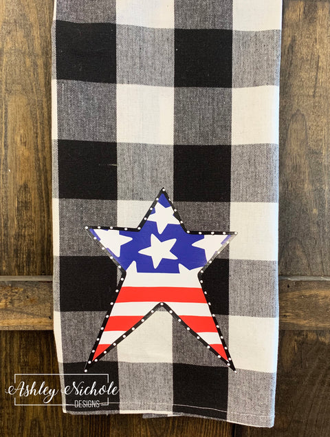 Patriotic Star-Buffalo Check Dish Towels