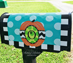 Personalized Green Dot Pumpkin Fall Mailbox Cover
