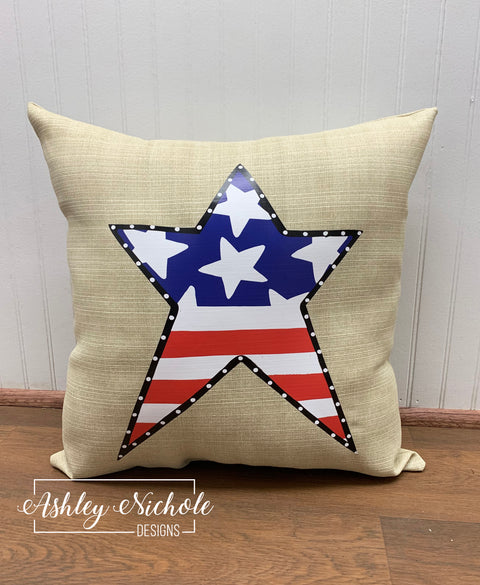 "18"" Custom-Patriotic Star Pillow"