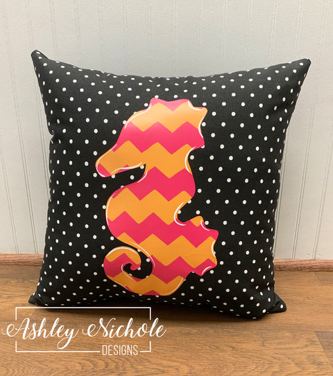 "18"" Custom-Sea Horse Vinyl Design on Black with Small White Dot Outdoor Fabric"