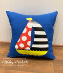 "18"" Custom-Sailboat Pillow on Bright Blue Outdoor Fabric"