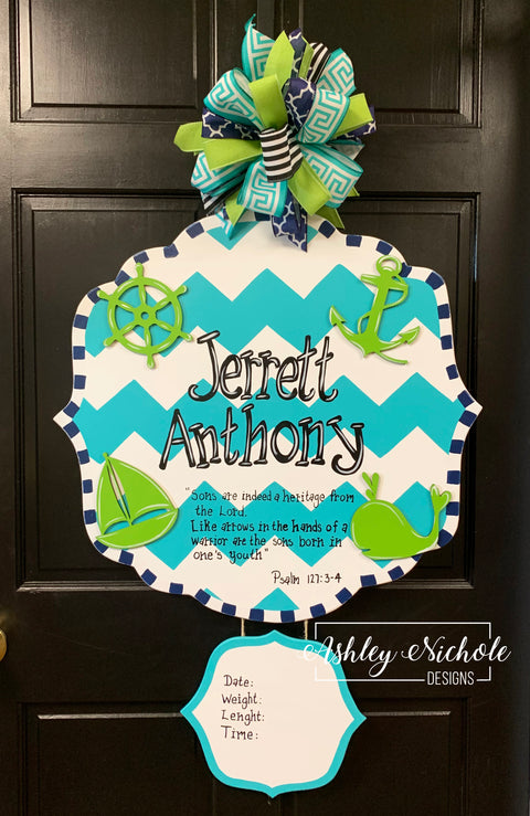 Name Plaque Baby Boy Announcement Door Hanger