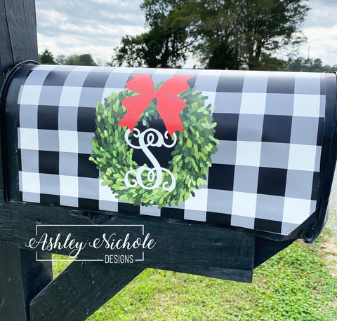 Buffalo Check with CHRISTMAS Boxwood Wreath Vinyl Mailbox Cover