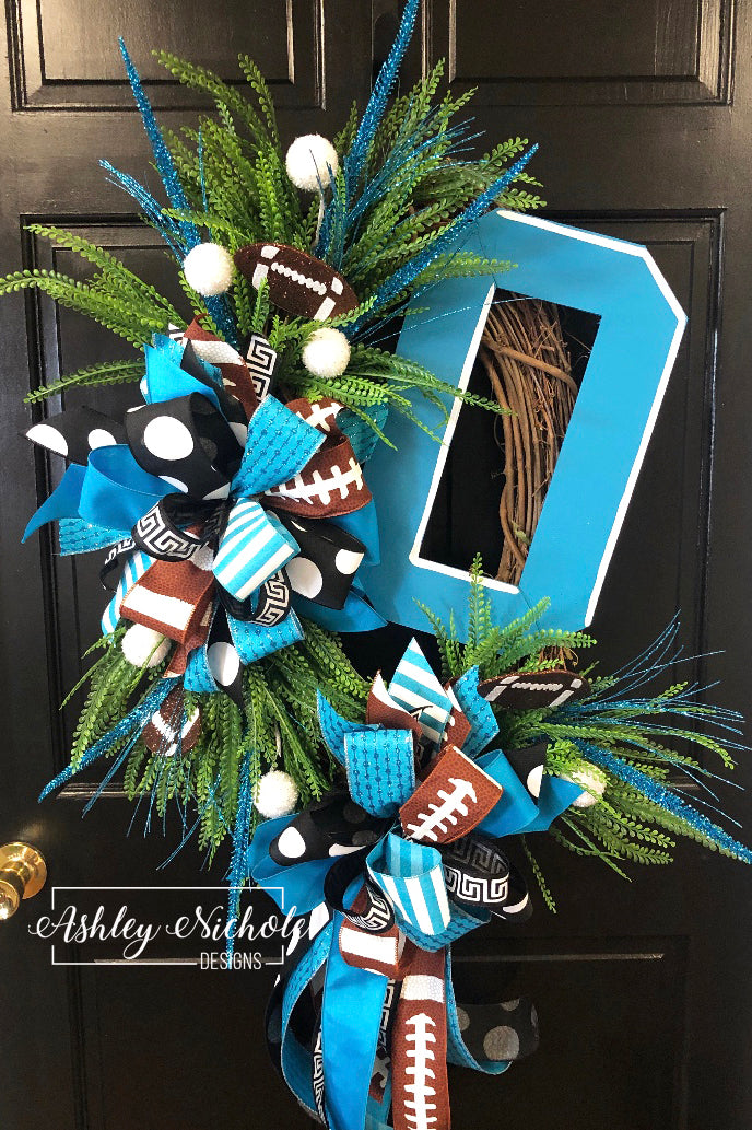 Initial Football Wreath - Collegiate Font