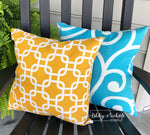 "18"" Outdoor Pillow-Yellow and White"