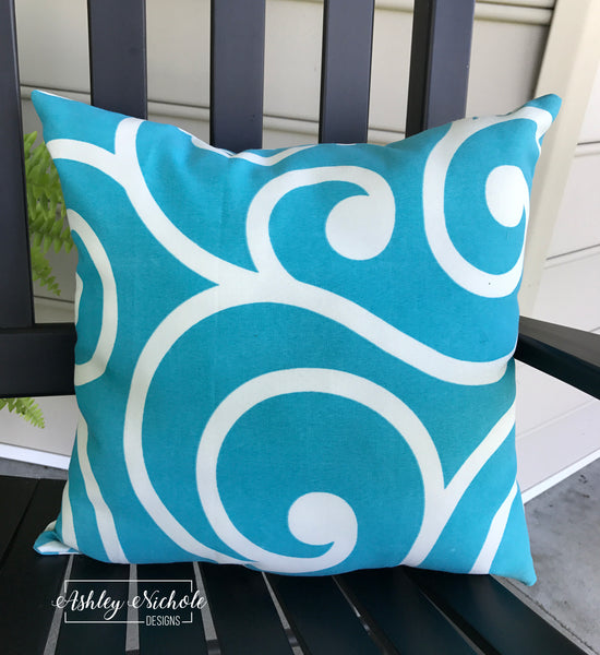 "18"" Outdoor Pillow-Turquoise and White"