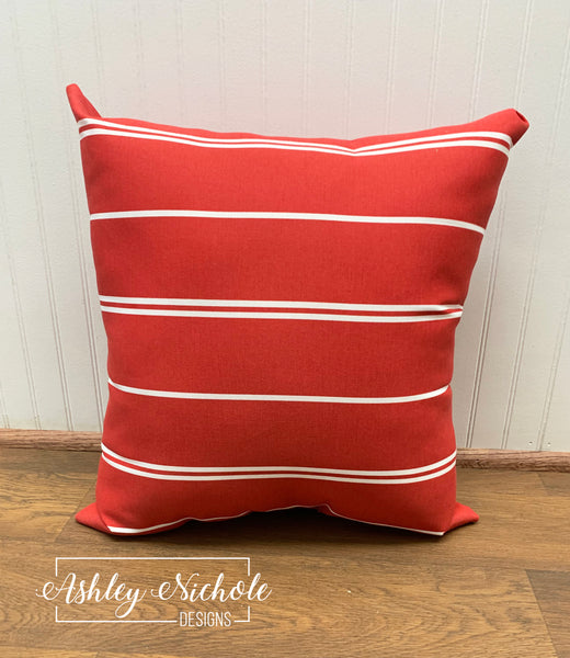 "18"" Outdoor Pillow - Red/White Thin Stripe"