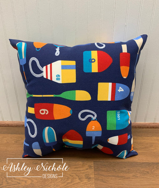 "18"" Nautical Buoy and Oar Pattern Print Pillow"